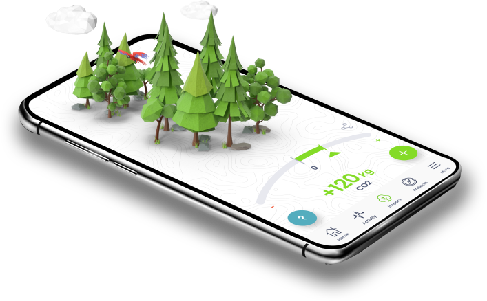 Reforest App With Forest growing on the phone.